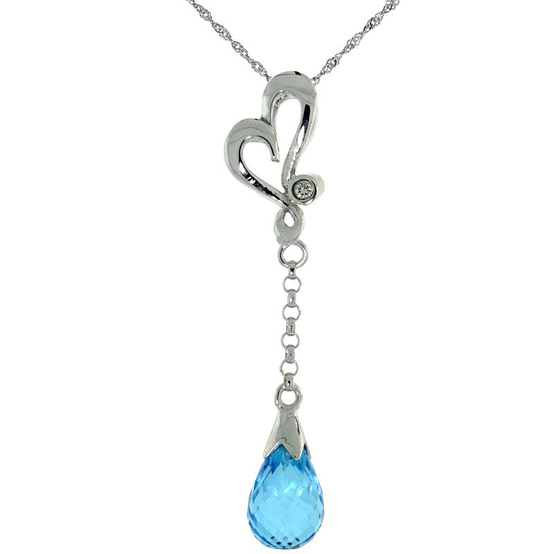 "10k White Gold Heart Cut Out & Blue Topaz Pendant, w/ 0.01 Carat Brilliant Cut Diamond, 1 3/8 in. (35mm) tall, w/ 18"" Sterling Silver Singapore Chain"