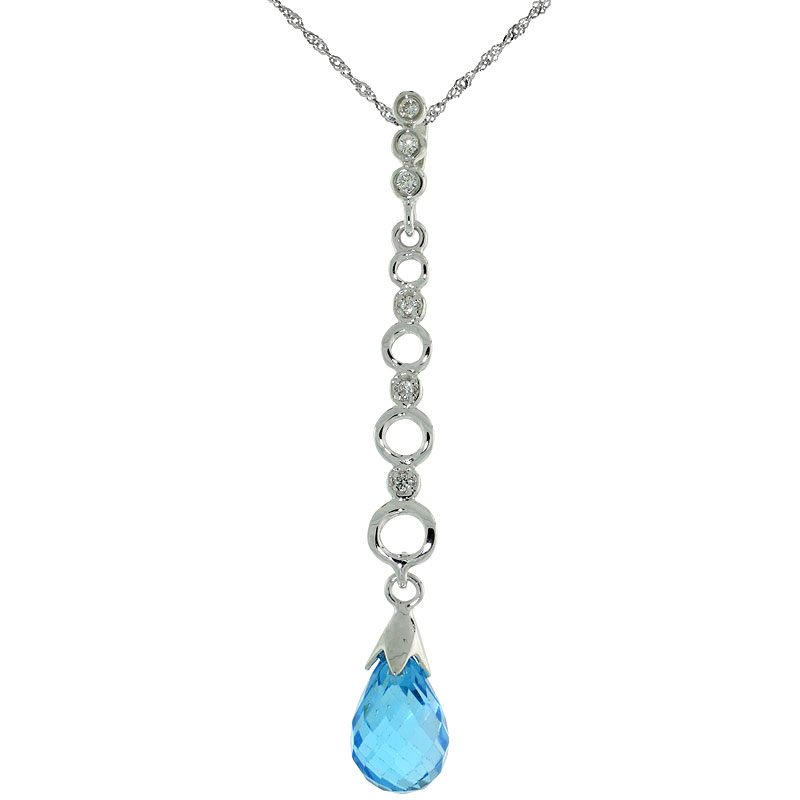 "10k White Gold Graduated Circle Cut Outs & Blue Topaz Pendant, w/ 0.05 Carat Brilliant Cut Diamonds, 1 11/16 in. (43mm) tall, w/ 18"" Sterling Silver Singapore Chain"
