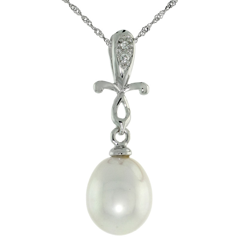"10k White Gold Cross & Pearl Pendant, w/ 0.01 Carat Brilliant Cut Diamonds, 1 in. (25mm) tall, w/ 18"" Sterling Silver Singapore Chain"