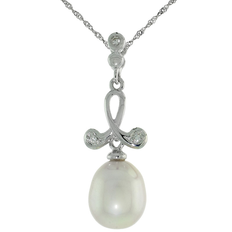 "10k White Gold Loop & Pearl Pendant, w/ 0.02 Carat Brilliant Cut Diamonds, 1 1/16 in. (27mm) tall, w/ 18"" Sterling Silver Singapore Chain"