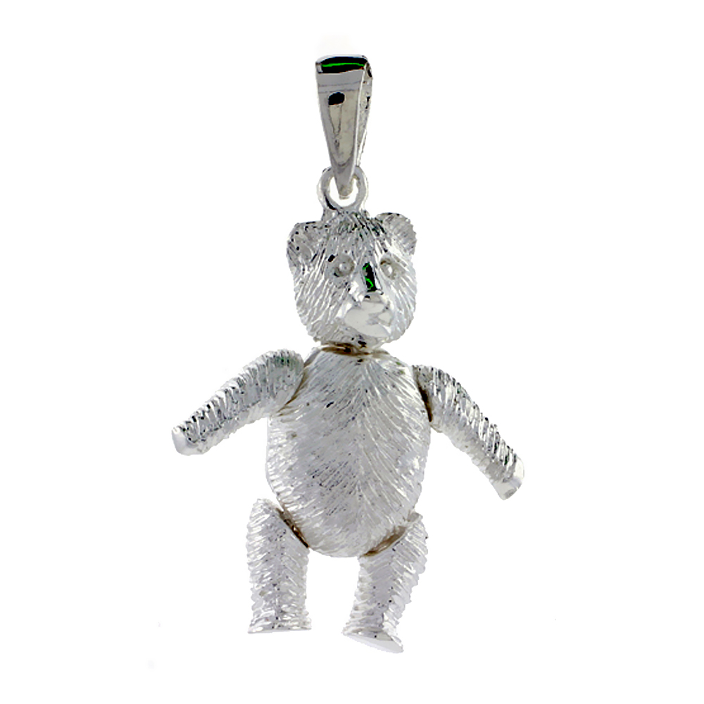 Sterling Silver Large Movable Teddy Bear Pendant, 1 inch long