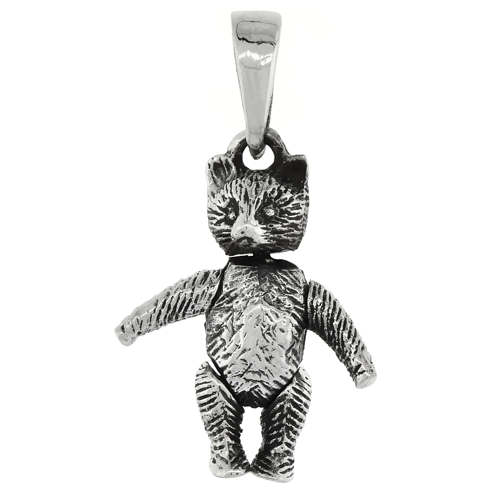 Sterling Silver Small Movable Teddy Bear Pendant, 3/4 inch long