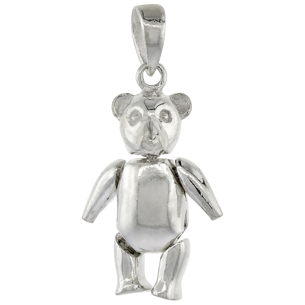 Sterling Silver Medium High Polished Movable Teddy Bear Pendant, 13/16 inch long
