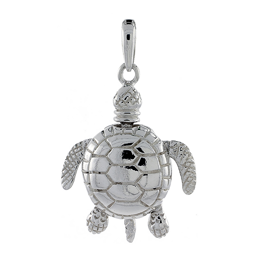 Sterling Silver High Polished Large Movable Turtle Pendant, 1 1/8 inch long