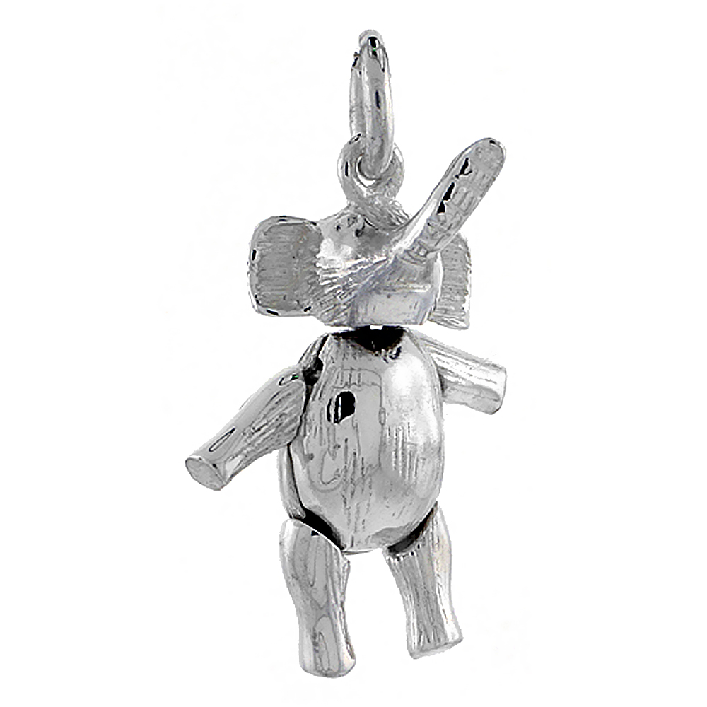 Sterling Silver High Polished Movable Elephant Pendant, 3/4 inch long