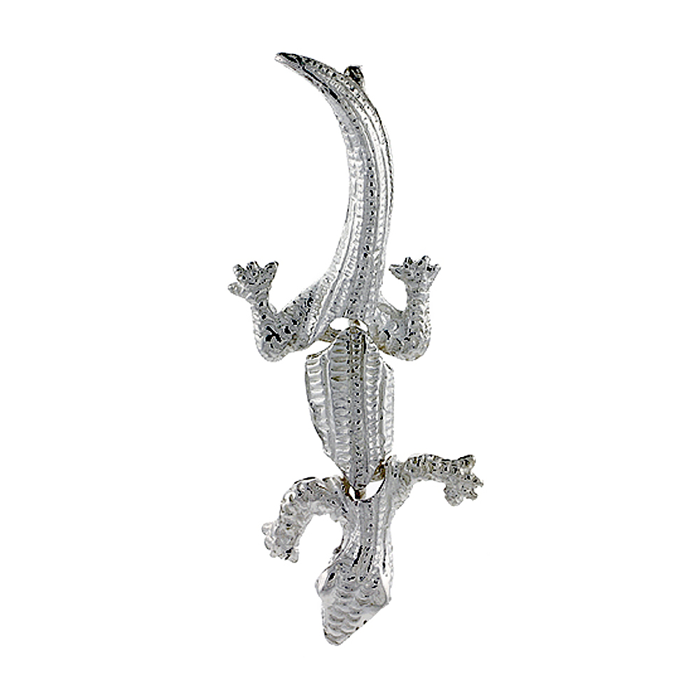 Sterling Silver Movable Gecko Pendant, 1 3/4 inch long