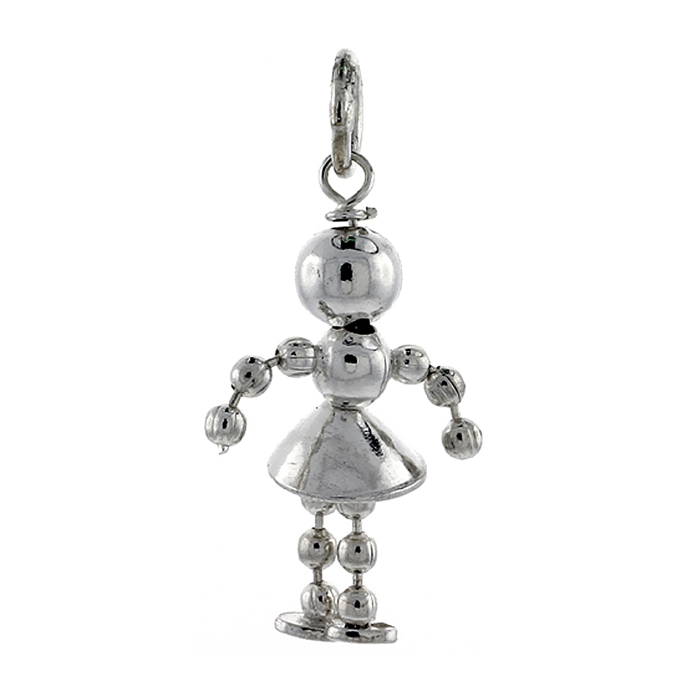 Sterling Silver High Polished Movable Beaded Girl Pendant, 3/4 inch long