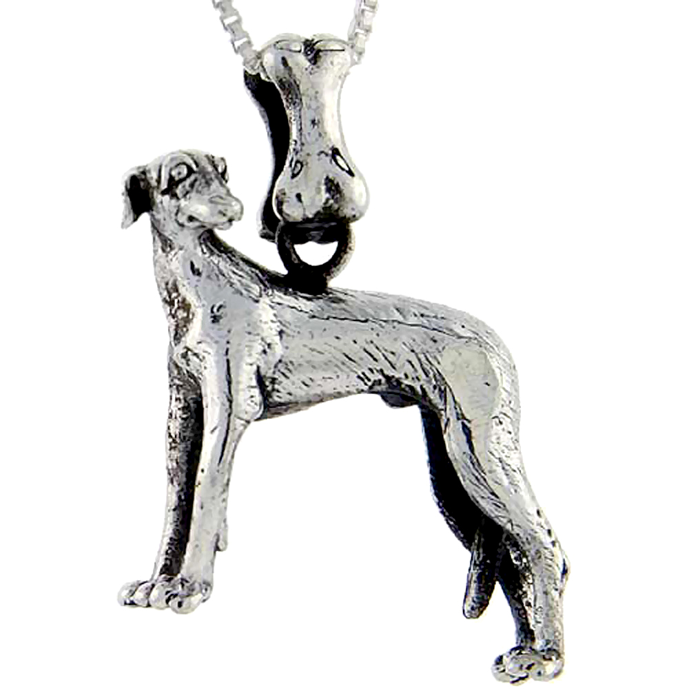 Sterling Silver Italian Greyhound Dog Pendant �