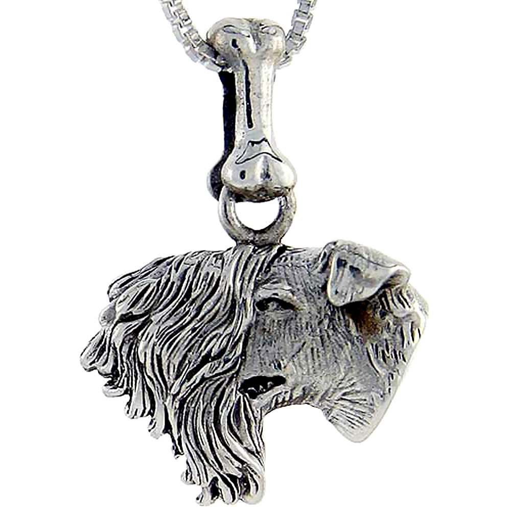 Sterling Silver Kerry Blue Terrier Dog Pendant �