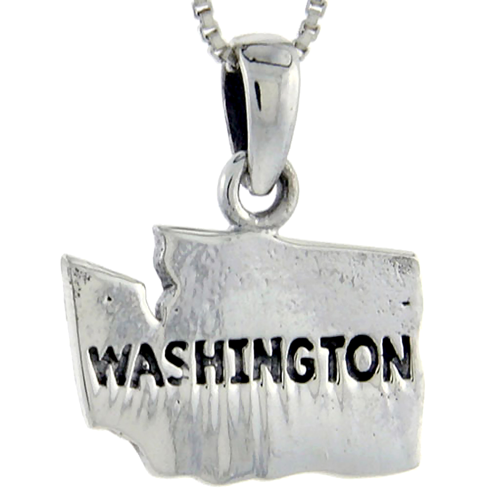 Sterling Silver Washington State Map Pendant, 7/8 inch tall
