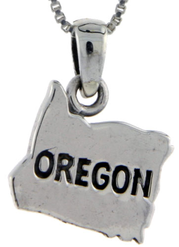 Sterling Silver Oregon State Map Pendant, 3/4 inch tall