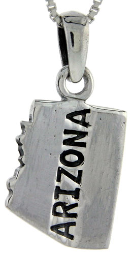 Sterling Silver Arizona State Map Pendant, 1 inch tall