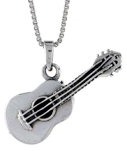 Sterling Silver Guitar Pendant, 1 1/4 inch