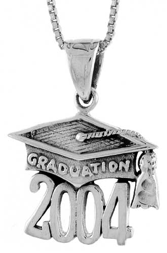 Sterling Silver 2004 Graduation Hat ( Mortarboard ) Pendant, 3/4 inch