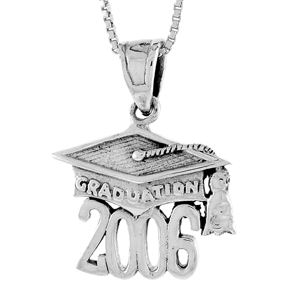 Sterling Silver 2006 Graduation Hat ( Mortarboard ) Pendant, 3/4 inch