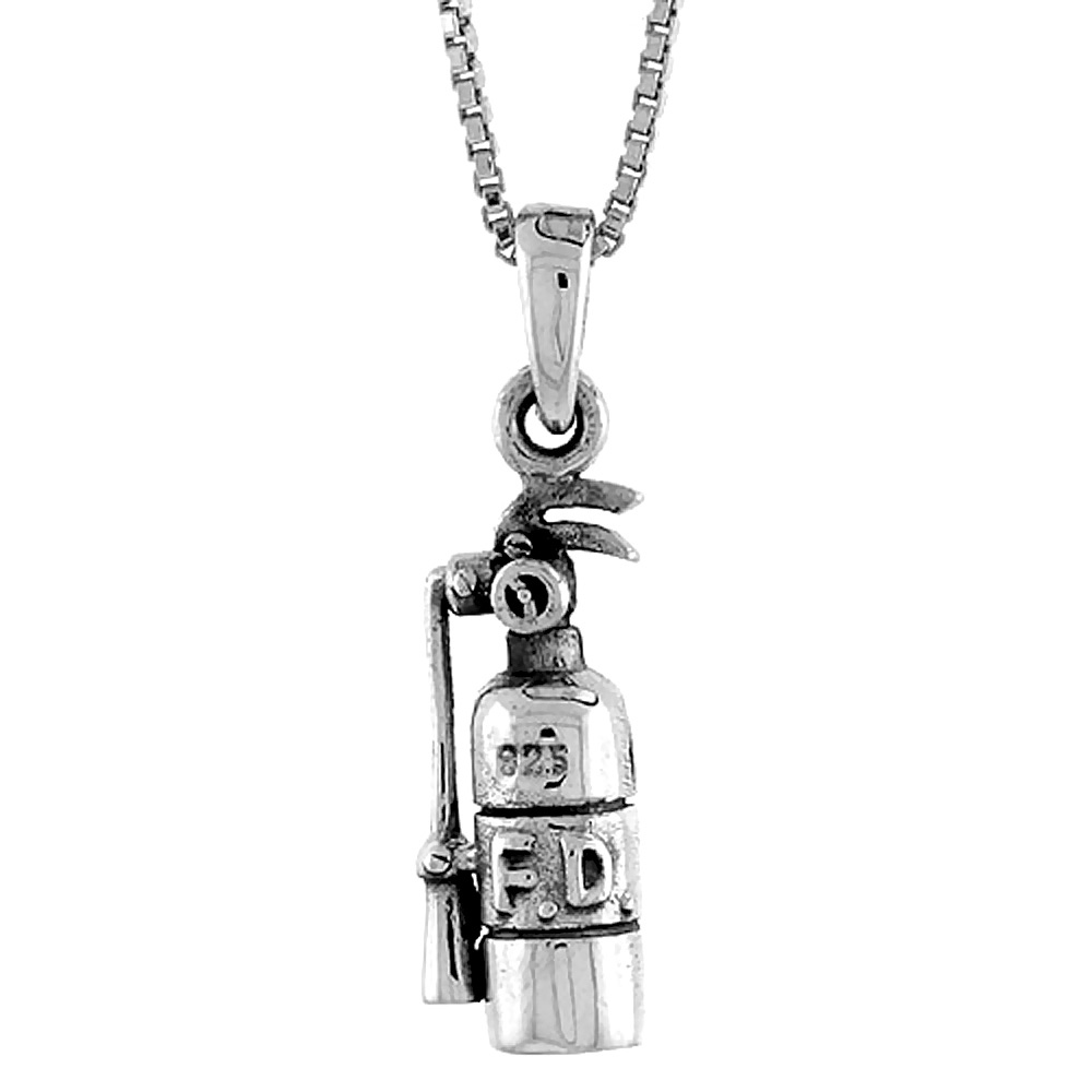Sterling Silver Fire Extinguisher Pendant, 3/4 inch