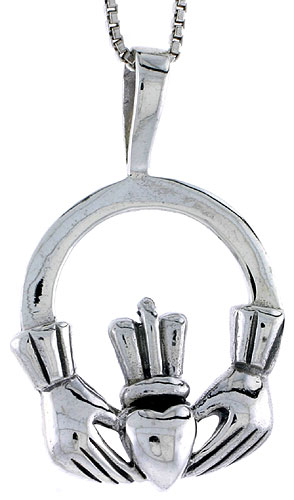 Sterling Silver Celtic Claddagh Pendant, 1 inch tall