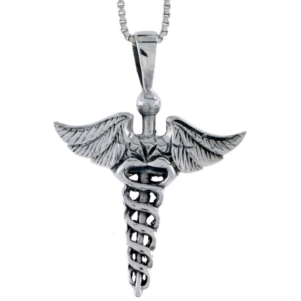 Sterling Silver Caduceus (Medical Symbol) Pendant, 1 1/8 inch tall