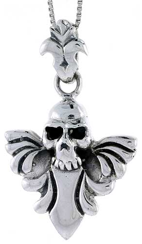 Sterling Silver Skull & Wings Pendant, 1 5/8 inch tall