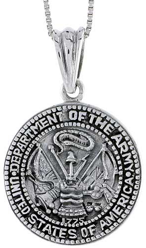 Sterling Silver U.S. Department of the Army Medal, 1 inch tall