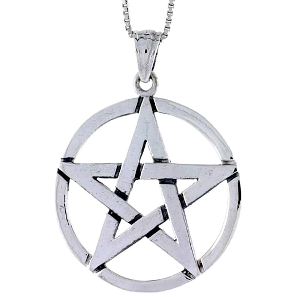 Sterling Silver Star Pentagon Pendant, 1 1/4 inch tall