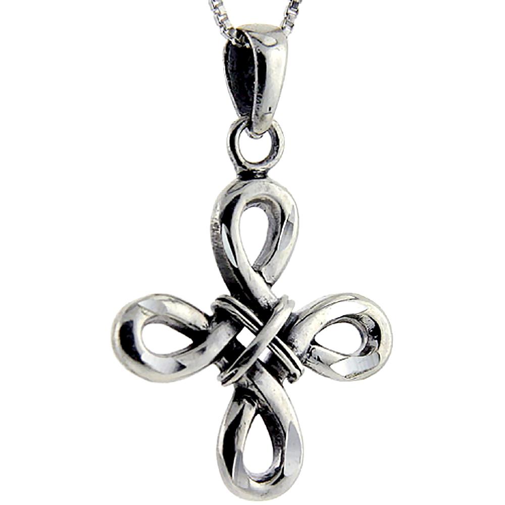 Sterling Silver Celtic Everlasting cross Pendant, 1 1/8 inch long