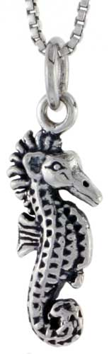 Sterling Silver Seahorse Charm, 3/4 inch tall
