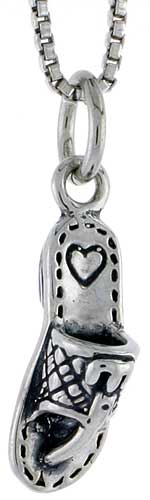 Sterling Silver Slipper Charm, 5/8 inch tall