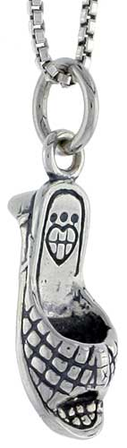 Sterling Silver Sandal Charm, 5/8 inch tall