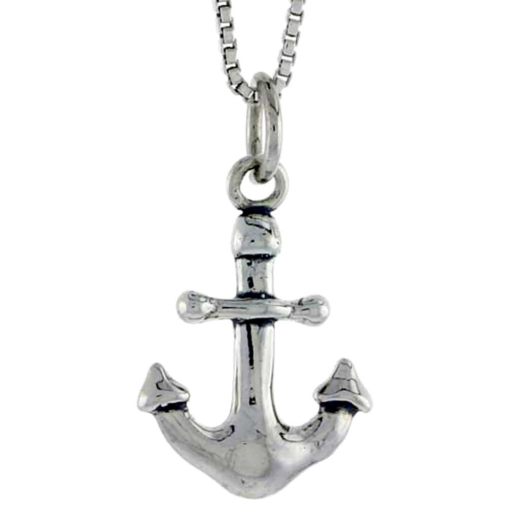 Sterling Silver Anchor Charm, 3/4 inch tall