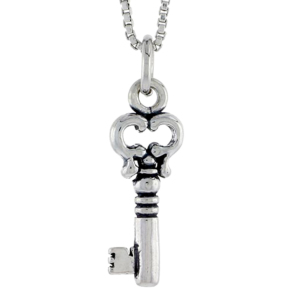 Sterling Silver Key Charm, 3/4 inch tall