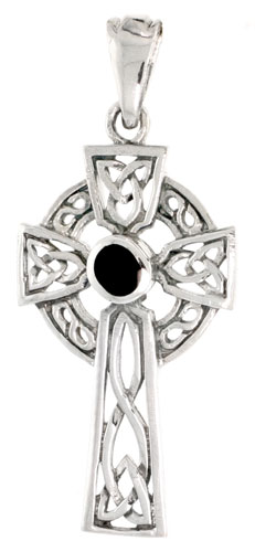Sterling Silver Celtic Cross w/ Jet Stone Charm, 1 1/2 inch