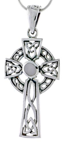 Sterling Silver Celtic Cross w/ Mother of Pearl Charm, 1 3/4 inch