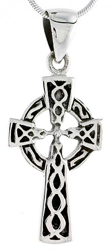 Sterling Silver Celtic Cross Charm, 1 1/4 inch