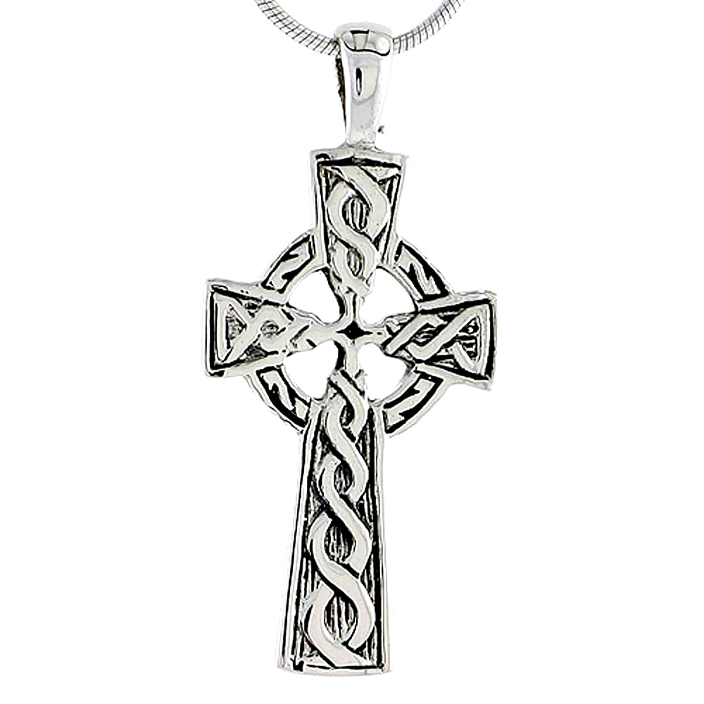 Sterling Silver Celtic Cross Charm, 1 1/2 inch