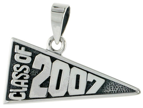 Sterling Silver Class of 2007 Graduation Charm, 1 1/8 inch wide