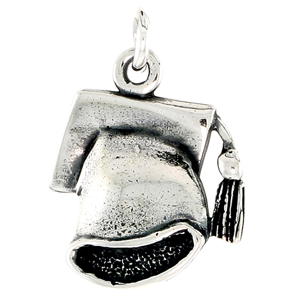 Sterling Silver Graduation Cap Charm, 3/4 inch tall
