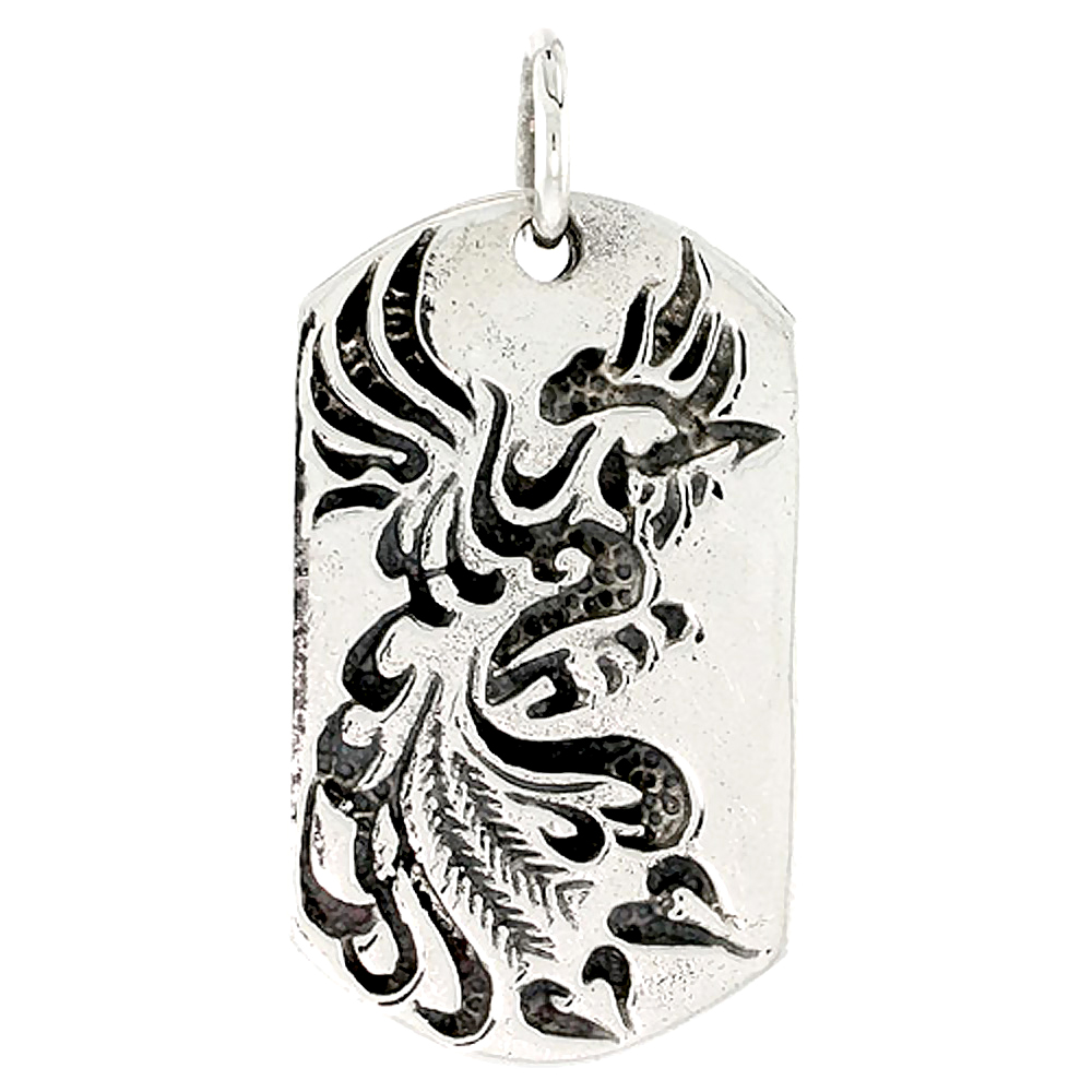 Sterling Silver Peacock Dog Tag Charm, 1 1/2 inch tall