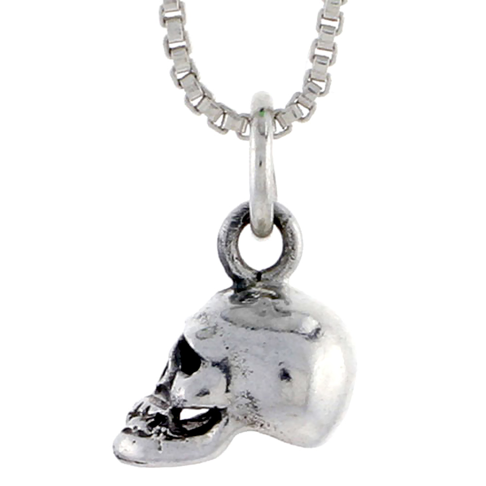 Sterling Silver Skull Pendant, 3/8 inch tall