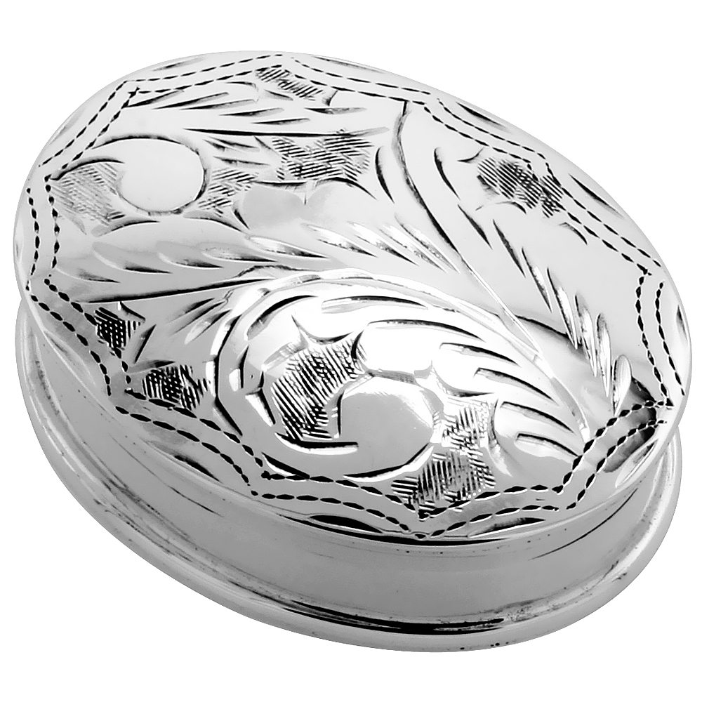 Sterling Silver Pill Box Oval Shape Engraved Finish, 1 5/16 x 1 inch