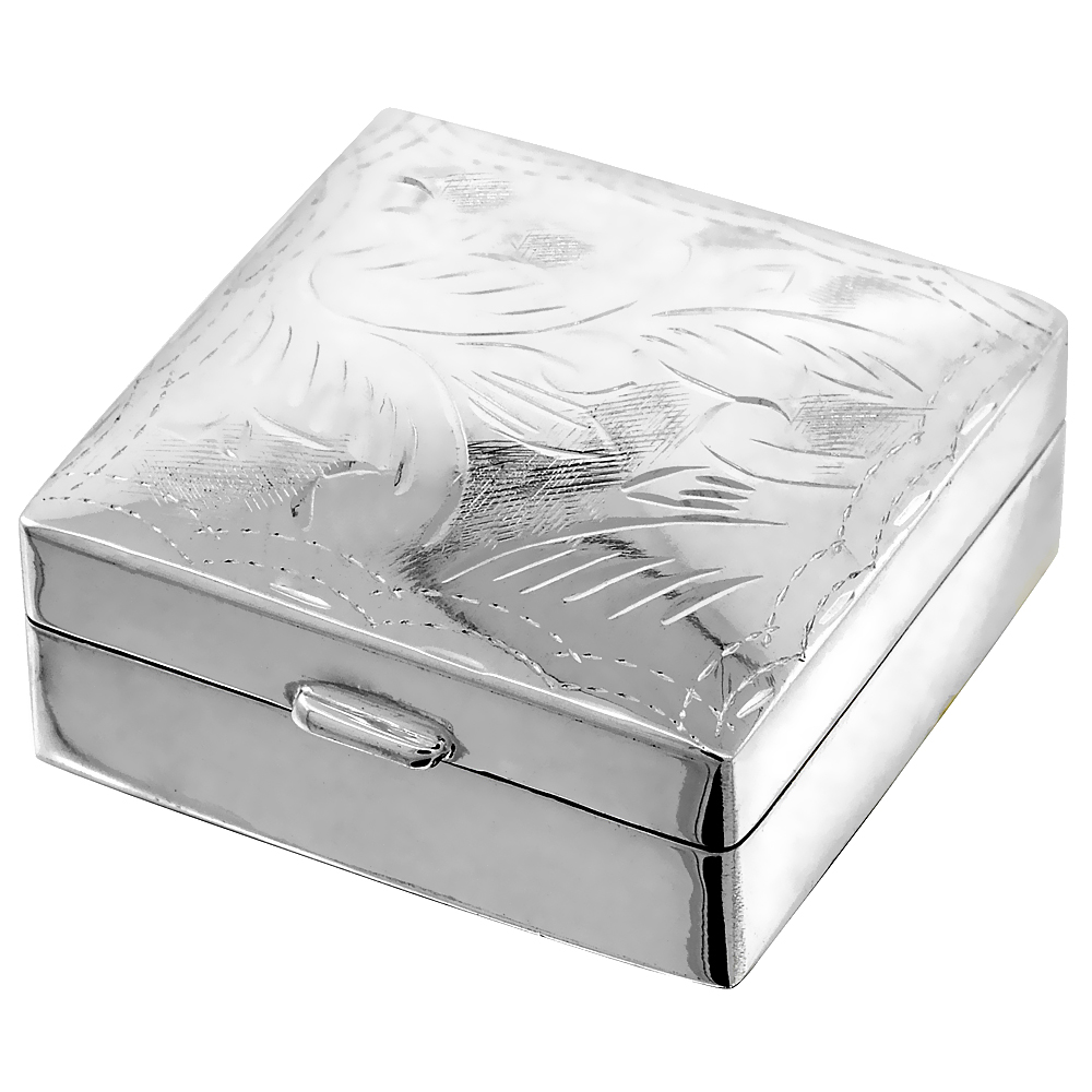 Sterling Silver Pill Box Square Shape Engraved Finish, 1 1/8 x 1 1/8 inch,