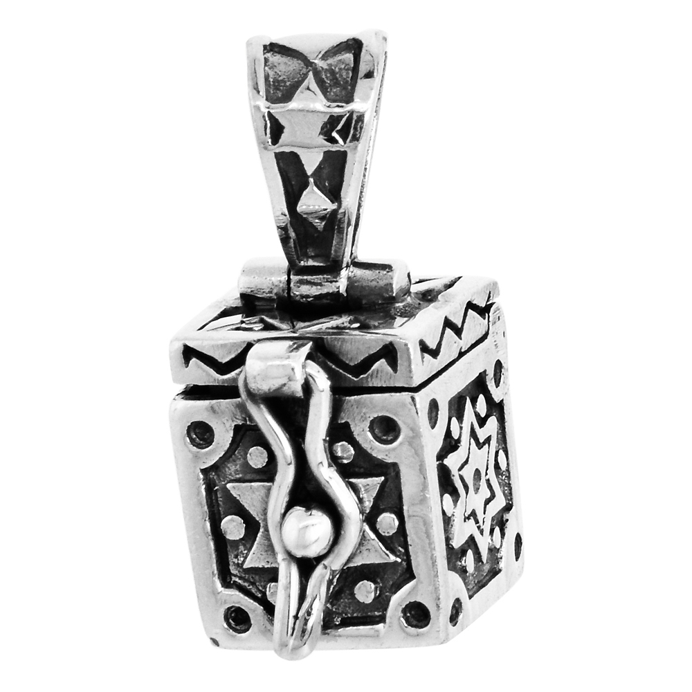 Sterling Silver Prayer Box Pendant Star of David Design, 3/8 inch