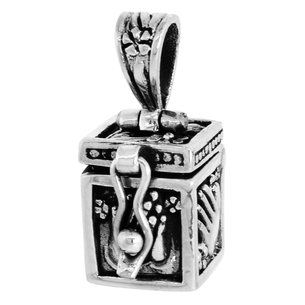 Sterling Silver Prayer Box Pendant Praying Hand Design, 3/8 inch