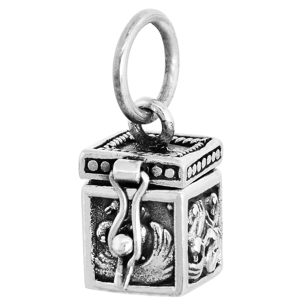 Sterling Silver Prayer Box Pendant Swans Motif, 3/8 inch