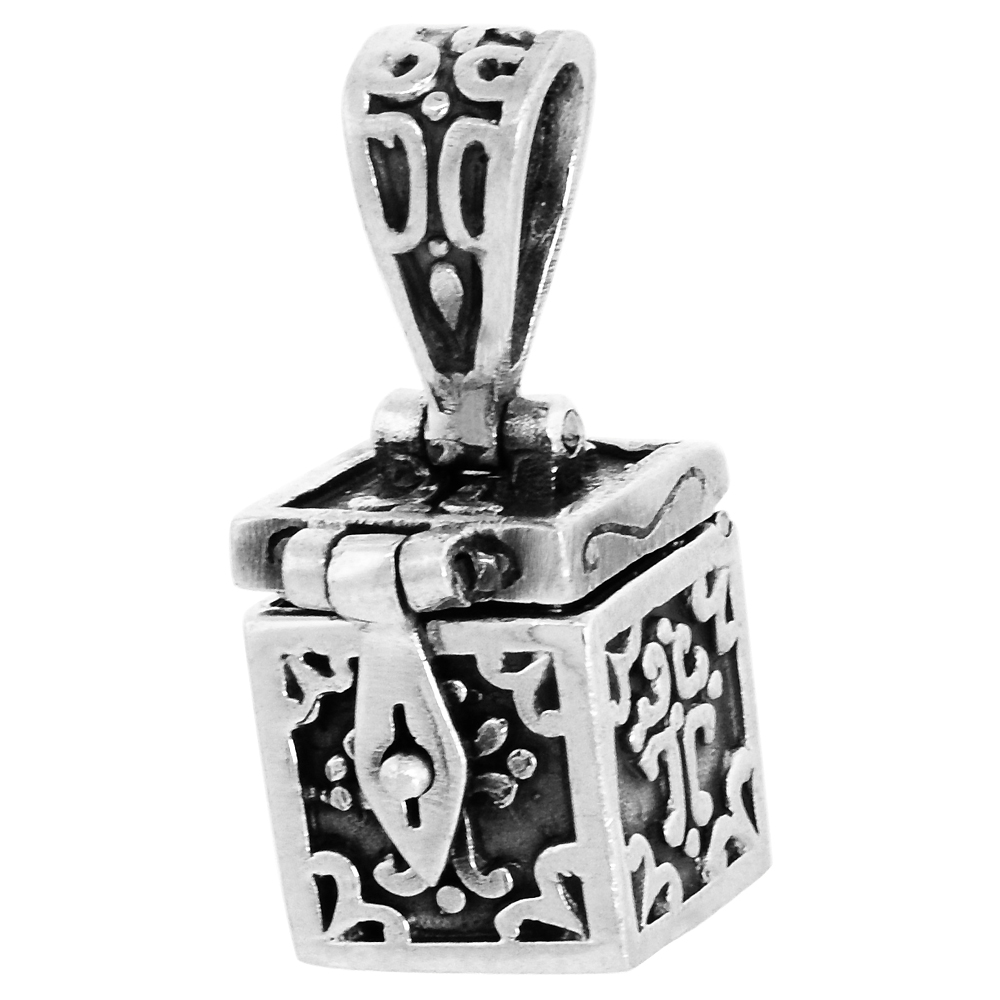 Sterling Silver Prayer Box Pendant Cross Motif, 3/8 inch