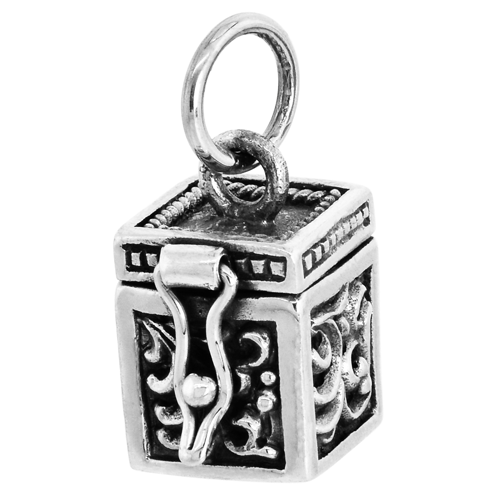 Sterling Silver Prayer Box Pendant Floral Designs, 3/8 inch