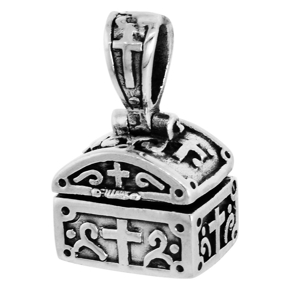 Sterling Silver Prayer Box Pendant Shaped like a Chest Cross Motif, 3/8 inch