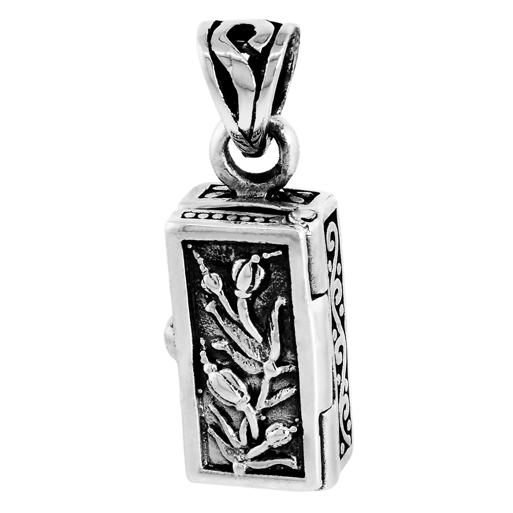 Sterling Silver Prayer Box Necklace Tulips with 18 in. chain, 5/8 inch