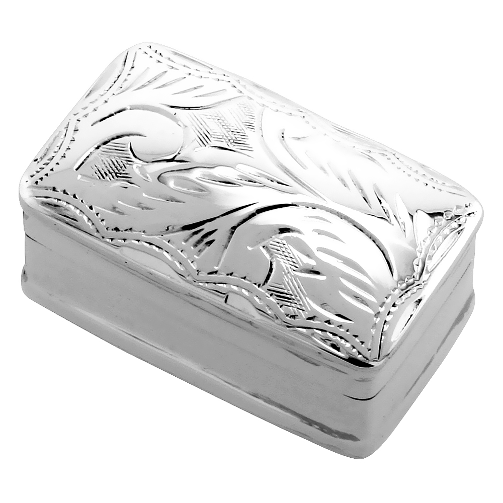 Sterling Silver Pill Box Rectangular Shape Engraved Finish, 1 1/16 x 5/8 inch