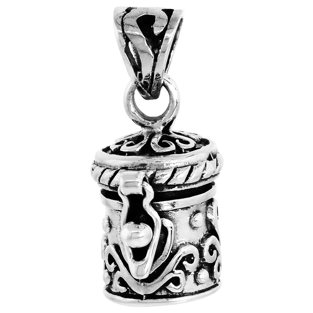 Sterling Silver Prayer Box Pendant Floral Design, 1/2 inch